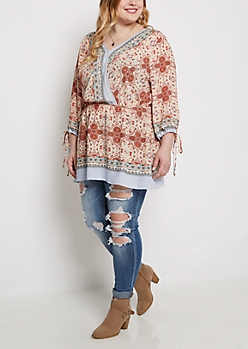 Plus Paisley Medallion Surplice Peasant Top