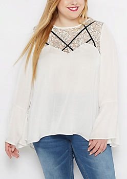 Plus Floral Lace Caged Bell Sleeve Blouse
