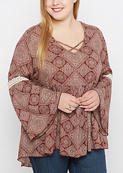 Plus Burgundy Boho Bell Sleeve Top