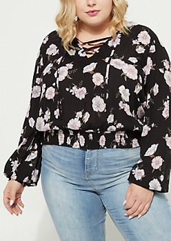 Plus Black Floral Lace Up Blouse