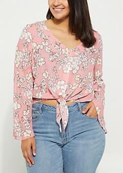 Plus Pink Floral Tie Front Blouse