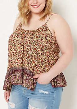 Plus Bohemian Floral Lattice Cami