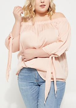 Plus Pink Off The Shoulder Tie Sleeve Blouse