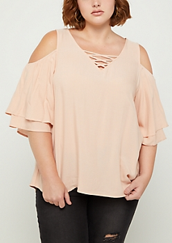 Plus Pink Cold Shoulder Lattice Top