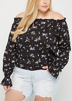Plus Floral Smocked Off Shoulder Shirt