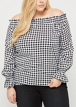 Plus Gingham Challis Smocked Off Shoulder Shirt