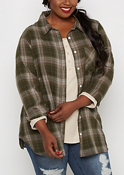 Plus Olive Plaid Flannel Shirt