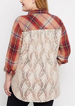 Plus Orange Plaid Lace Back Flannel Top