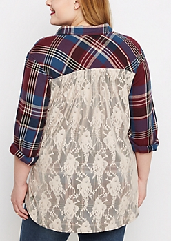 Plus Burgundy Plaid Lace Back Flannel Top