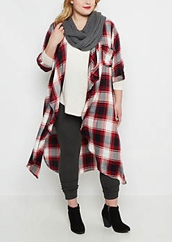 Plus Plaid Cascading Duster