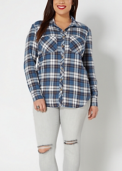 Plus Blue Plaid Tissue Flannel Shirt