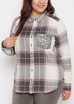 Plus Pink Plaid Sequined Pocket Shirt