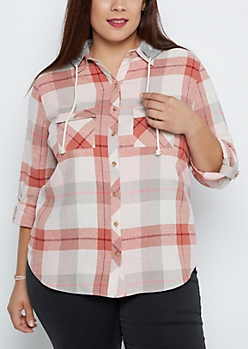 Plus Peach Plaid Hooded Shirt