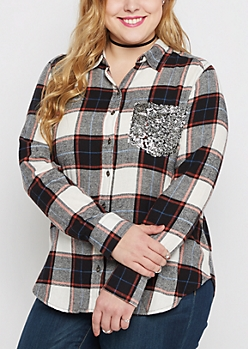 Plus Black Plaid Sequined Pocket Shirt