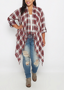 Plus Washed Plaid Fringed Wrap