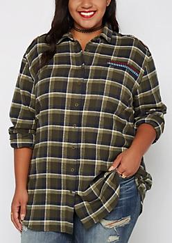 Plus Aztec Military Plaid Tunic Shirt