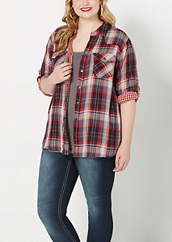 Plus Red Plaid Flannel Top