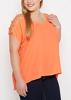 Plus Neon Lattice Shoulder Chiffon Blouse