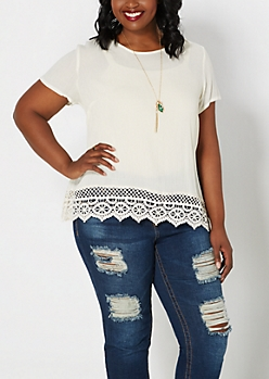 Plus Ivory Crochet Border Gauze Top