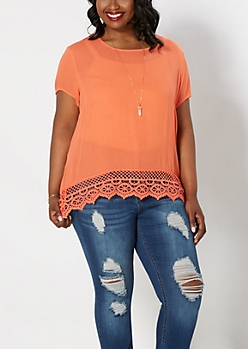 Plus Coral Crochet Border Gauze Top