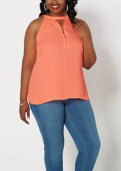 Plus Neon Orange Zip Keyhole Tank