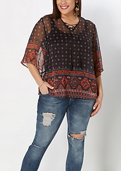Plus Boho Chiffon Peasant Top