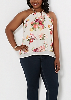 Plus Floral Layered Chain Accent Tank