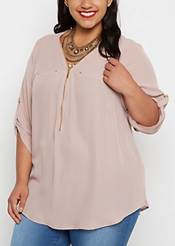 Plus Dusty Pink Zip-Yoke Blouse