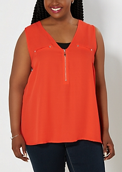 Plus Red Zip-Down Crepe Tank Top