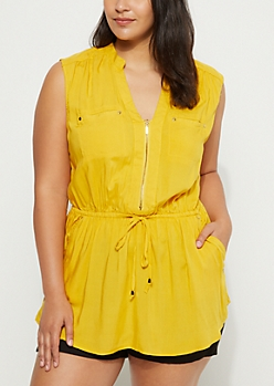 Plus Mustard Zip Front Tunic Top