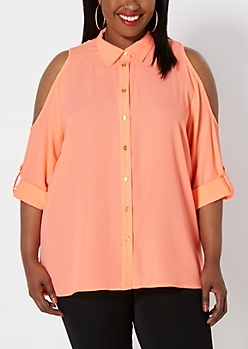 Plus Neon Orange Cold Shoulder Shirt