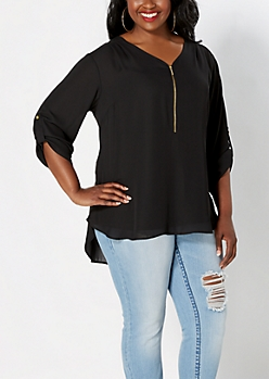 Plus Black Crepe Zipped Popover Top