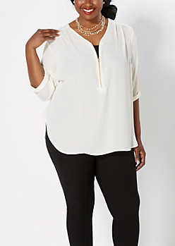 Plus Ivory Crepe Zipped Popover Top