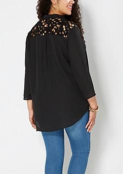 Plus Black Floral Crochet Popover