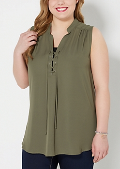 Plus Olive Green Lace-Up Blouse