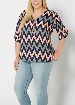 Plus Coral Chevron Zip Yoke Popover Top