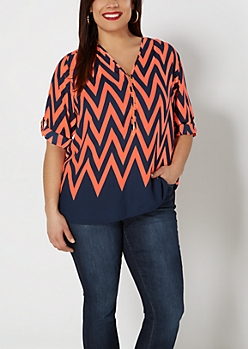Plus Neon Chevron Zip Yoke Popover Top