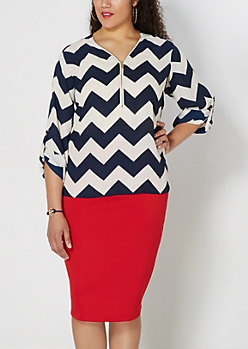 Plus Navy Chevron Zip Front Popover
