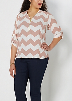 Plus Dusty Rose Chevron Zip Front Popover