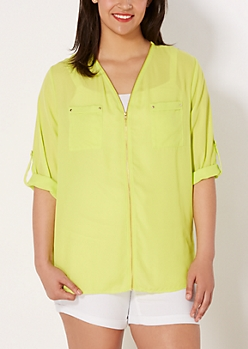 Plus Neon Green Chiffon Zip Down Blouse