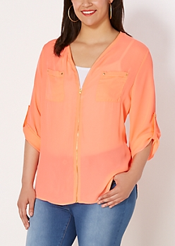 Plus Neon Orange Chiffon Zip Down Blouse