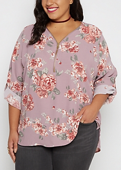 Plus Lavender Rose Zip-Down Blouse