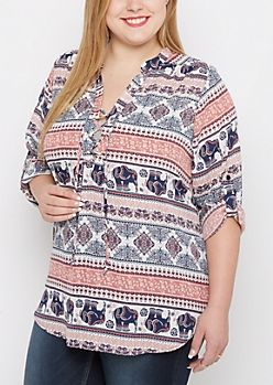 Plus Bohemian Lace-Up Popover Blouse