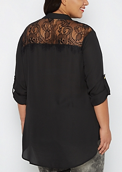 Plus Black Lace Back Blouse