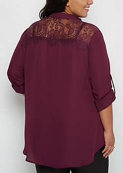 Plus Plum Lace Back Blouse