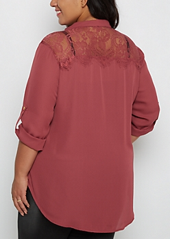 Plus Dark Pink Lace Back Blouse