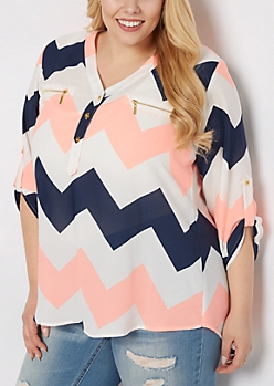 Plus Neon Striped Button Neckline Blouse