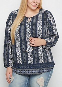 Plus Navy Folklore Peasant Top