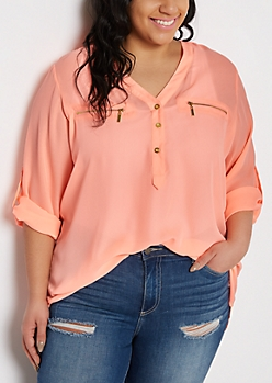 Plus Neon Coral Button Neckline Blouse