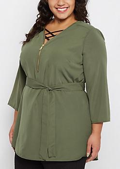 Plus Olive Zip-Up Sash Waist Tunic Shirt